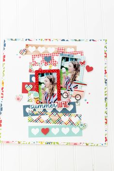 July Projects-2663 Kids Scrapbook, Scrapbook Page Layouts, Scrapbook Pages, Scrapbooking Ideas, Washi, Echo Park Paper, Paper Hearts, Making Memories, Counted Cross Stitch Patterns