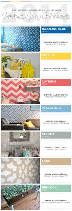 Cutting Edge Stencils shares stenciled spaces and home decor ideas using Pantone's 2014 Spring Color Trend report. http://www.cuttingedgestencils.com/wall-stencils-stencil-designs.html