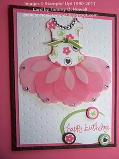 Sweet Pink Tutu Card...Blossom Petals Builder punch and round tab punch.  Great accent for dance review