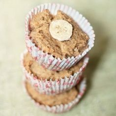 Simple whole wheat banana muffins with ghee or clarified butter.
