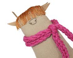 Highland cow toy with cosy pink scarf.  MoooOOOOOOOoOOo!!!!! This adorable highland cow Moosac is one of my original Poosac art dolls. Each and every one