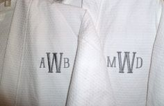 4b7462ec0e 2 Personalized Robes Custom Couples Spa Gift Mr and Mrs Gift Bridal Shower  Gift Cotton Monogrammed Embroidered Robe