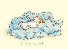 M213 I Love My Bed - a mouse card by Anita Jeram
