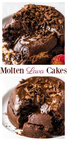These Easy Molten Chocolate Lava Cakes for Two are so delicious and perfect for Valentine's Day! A rich, decadent, and romantic chocolate dessert recipe anyone can make at home! # cupcake cakes Easy Molten Chocolate Lava Cakes for Two - Baker by Nature Mini Desserts, Easy Desserts, Delicious Desserts, Romantic Desserts, Health Desserts, Molten Chocolate, Chocolate Recipes, Cake Chocolate, Chocolate Melting Cake