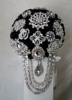 Hey, I found this really awesome Etsy listing at https://www.etsy.com/listing/203900359/elegant-black-brooch-bouquet-cascading