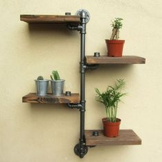 URBAN INDUSTRIAL RUSTIC WALL MOUNT IRON PIPE 4 TIERS WOOD SHELF SHELVING STORAGE in Home, Furniture & DIY, Furniture, Bookcases, Shelving & Storage | eBay!