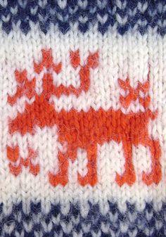 Toddler Sweater - Reindeer - Hand knit - Navy blue, red, cream. $22.00, via Etsy.