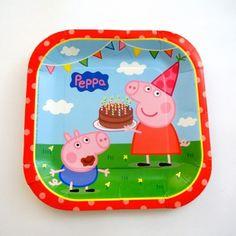 Platos Cuadrados desechables de Peppa Pig y George - Artículos de Fiesta
