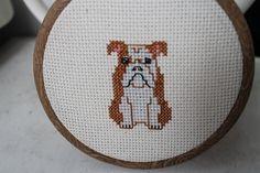 English Bulldog Cross Stitch Dog Portrait