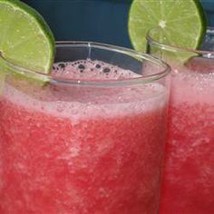 Watermelon Cooler Slushie  4 cups cubed seedless watermelon 10 ice cubes 1/3 cup fresh lime juice 1/4 cup white sugar 1/8 teaspoon salt  Place watermelon and ice into a blender. Pour in lime juice, sugar, and salt. Blend until smooth.