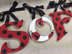 Lady bug Ladybug hand painted custom by TrendyTotsLetters Hanging Letters On Wall, Small Letters, Letter Wall, Ladybug Room, Ladybug Nursery, Wooden Crafts, Diy And Crafts, Miraculous Ladybug Party, Bed Picture