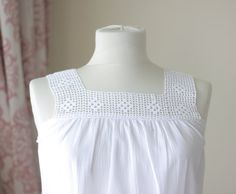 Lace sleeveless tops for women made with organic cotton, white peasant tank, Aesthetic clothing - Amalia Peasant Blouse, Blouse Dress, Peasant Tops, Crochet Yoke, Crochet Blouse, Cream Lace Top, White Lace, Sewing Clothes, Crochet Clothes