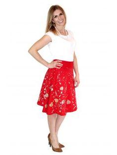 Bio-Damenrock roter Blätterwirbel Rock, Dame, Midi Skirt, Skirts, Fashion, Gowns, Moda, Midi Skirts, Skirt
