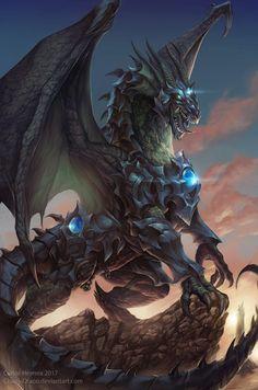 """The Dragon Knight-Timaeus"" by Carlos Herrera aka Chaos-Draco @ deviantart Fantasy Monster, Monster Art, Mythical Creatures Art, Fantasy Creatures, Dark Fantasy, Fantasy Art, Dragon Rise, Mythical Dragons, Legendary Dragons"