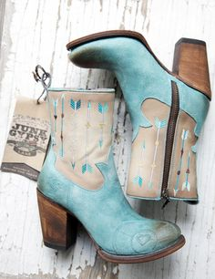 Short Turquoise & Bone leather high heel boot €295,- by Junk Gypsy