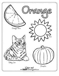 Orange worksheets for preschoolers color orange book for Orange coloring pages