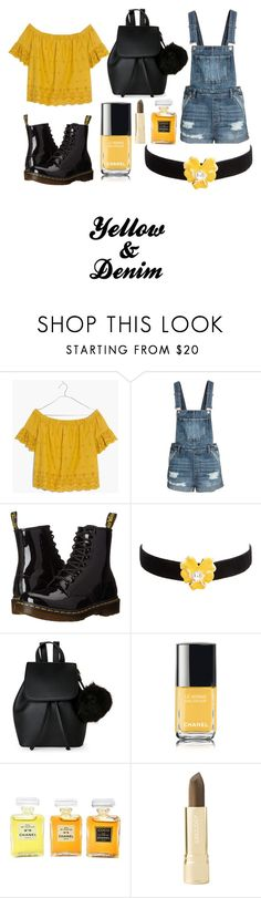"""Outfit 78"" by polivorejoelle ❤ liked on Polyvore featuring Madewell, Dr. Martens, Kenneth Jay Lane, IMoshion, Chanel, Axiology, yellow, black and denim"