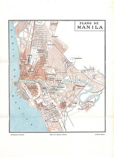 Manila Vintage City Plan Street Map 1920s Philippines by carambas