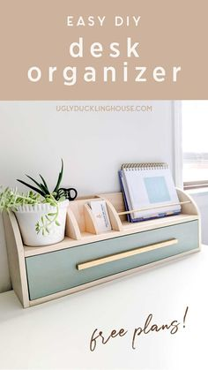 Love the curves on this easy DIY desk organizer! Drawer, space for a plant, large paper organization, small sections for pens and business cards. Even a tape measure! Free plans available to build it yourself! Features @minwax color of the year in vintage blue solid color stain.  ad  #woodworking #diy #woodworkingplans #freeplans #stain #vintage #officeorganization #homeoffice #officedecor #deskorganization #organization Desk Organization Diy, Diy Desk, Countertop Organization, Minwax Colors, Diy Spring, Diy Wood Projects, House Projects, Free Plans, Diy On A Budget