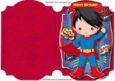 a lovely quick and easy card to make and give to any child on there birthday Print, Cut, and Fold Birthday Superboy, a lovely card print twice to decoupage Folded Cards, Print And Cut, Kids Cards, Superman, Decoupage, Card Making, Happy Birthday, Wonder Woman, Children