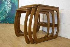 Mid Century Retro Danish Style Teak Nathan Burlington Nest Of Tables | Vinterior   #20thcentury #midcentury #modern