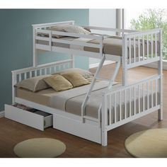 Modern white triple bunk bed with drawers - Ladder - + - Can be split into 2 Bunk Beds With Drawers, Wooden Bunk Beds, Bunk Beds With Storage, Bunk Beds With Stairs, Bed Storage, Childrens Bunk Beds, Adult Bunk Beds, Kids Bunk Beds, Triple Sleeper Bunk Bed