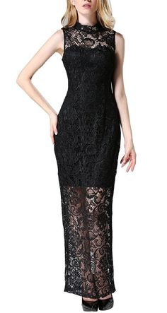 Searia Women High Neck Sleeveless Floral Lace Long Maxi Cocktail Evening Dress Small: Amazon Fashion