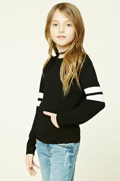 Forever 21 Girls - A knit sweater featuring long sleeves with varsity stripes, a kangaroo pocket, round neckline, and a ribbed trim. (11-12)