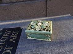 Vintage Floral Enamel Faux Jeweled Box Open Weave Floral