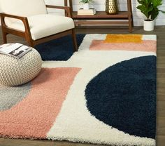Modern Geometric Shag Rug | Pottery Barn Kids Ethnic Design, Polypropylene Rugs, Cozy Living Rooms, Queen, Indoor Rugs, Navy Pink, Pottery Barn Kids, Geometric Designs, Online Home Decor Stores