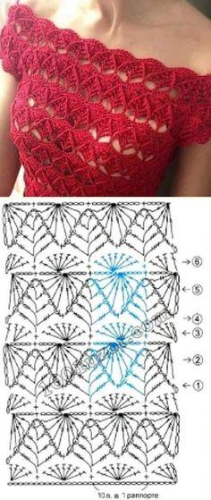 Avalon Top pattern by Doris Chan Crochet Shoes Pattern, Crochet Stitches Patterns, Knitting Patterns, Crochet Squares, Crochet Motif, Knit Crochet, Crochet Blouse, Crochet Fashion, Crochet Accessories