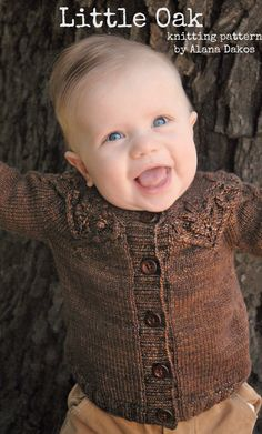 Pdf knitting pattern for oak leaf sweater for little ones by Never Not Knitting, $6.00