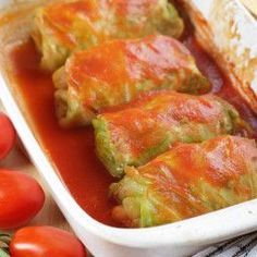 Easy, delicious and fun! Just like Mom used to make. I remembered she always used tomato soup, which really makes a yummy difference. - Baked Stuffed Cabbage Rolls