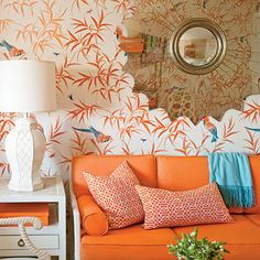 Orange you glad I found this? I want this orange couch for my craft room! House Of Turquoise, Orange Et Turquoise, Orange Orange, Orange Sherbert, Turquoise Room, Coral Aqua, Orange Creamsicle, Orange Juice, Orange Couch
