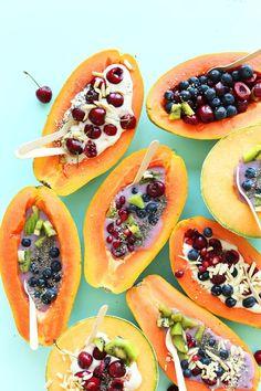 barcos tropicais de papaia e meloa, o pequeno-almoço que me...