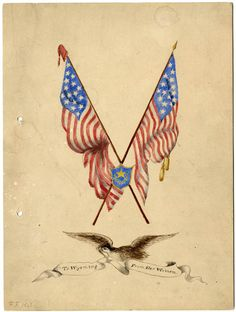 Cover of the booklet listing all of the women who contributed to the purchase of the 44-star flag presented during the statehood celebration on July 23, 1890. The flag was presented to Governor FE Warren by Esther Morris. (Wyoming State Archives P2004-8)