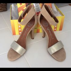 Jeffrey Campbell Hough Metallic Suede Sandals Beautiful sandals worn a couple of times~ Good condition with a few small places on the suede~ I have the box with the individual shoe bags as well~ Any Questions please ask Jeffrey Campbell Shoes Sandals