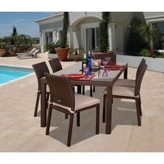 Outdoor Atlantic Liberty Classic All Weather Wicker Dining Set - Seats 6 - PLI LIBER7 SIDE