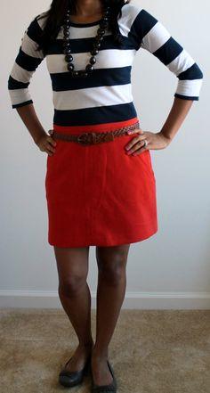 orange skirt and stripes