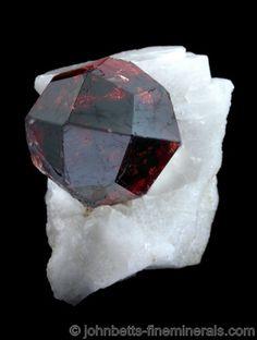 Perfect Spessartine Crystal on Matrix - The Mineral and Gemstone Kingdom