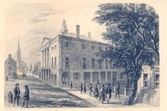 A drawing of the first Federal Hall, which was also where the Bill of Rights was established. The building was torn down in 1812. In the background at left is the first Trinity Church.