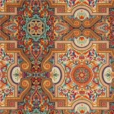colourful ornament fabric with gold Robert Kaufman USA 1