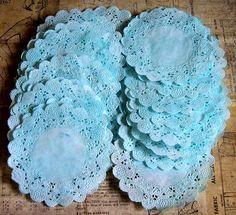 Vintage themed ephemera such as doilies, napkins, cake boxes, ribbon and Paper Lace Doilies, Vintage Ephemera, Lace Shorts, Aqua, Crochet Hats, Scrapbook, Water, Scrapbooks, Scrapbooking