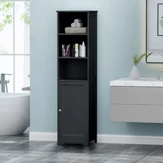 Bungalow Rose W x H x D Free-Standing Bathroom Cabinet Finish: Black Narrow Bathroom Cabinet, Bathroom Standing Cabinet, Linen Cabinet, Bathroom Storage, Small Bathroom, Bathroom Cabinets, Bathroom Ideas, Cabinet Shelving, Cabinet Decor