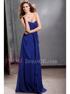 Chiffon Zipper Floor-Length Royal Blue Chiffon A-line Prom Dresses Long Blue Evening Dresses