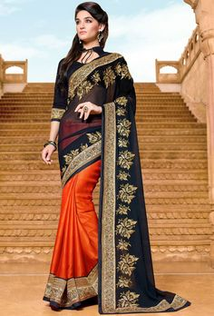 Orange Jacquard #Saree with #Designer #Pallu