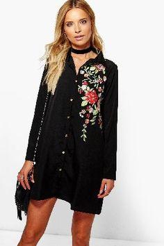boohoo Embroidered Boxy Shirt Dress - black DZZ75758  Taylor Embroidered  Boxy Shirt Dress - db70c3f3cf1e8