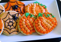simple buttercream frosted halloween cookies