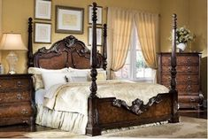 Pulaski - Wellington Manor Queen Poster Bed---its perfect! poster/panel bed all in one:) Pulaski Furniture, Bedroom Furniture, Bedroom Decor, Bedroom Stuff, Guest Bedrooms, Bedroom Sets, Master Bedroom, Furniture Styles, Furniture Design