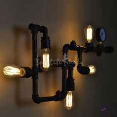 BAYCHEER Industrial Retro Vintage Style Farmhouse Industry Steam Punk Water Pipe Wall Sconce Wall Light lamp with use 5 Each Bulbs Wall Lights, Farmhouse Lighting, Industrial Wall Lamp, Led Wall Lights, Sconce Lamp, Vintage Wall Sconces, Rustic Lamps, Wall Sconce Lighting, Light